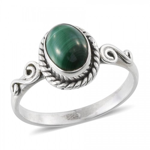 Malachite (Ovl) Solitaire Ring in Sterling Silver ring