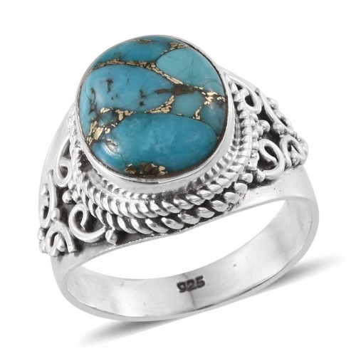 Blue Turquoise Stone (Ovl) Ring in Sterling Silver (Size 6/7/8/9/10) TGW 3.82 Cts.-105012 Ring